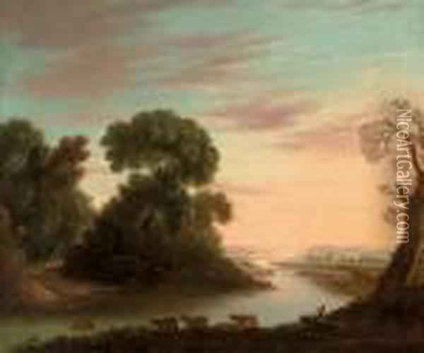 A Wooded River Landscape With A Drover Under A Tree, His Cattle Beyond Oil Painting - Claude Lorrain (Gellee)