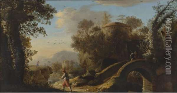 An Italianate Landscape With Figures; A Footbridge And Classical Ruins Beyond Oil Painting - Claude Lorrain (Gellee)