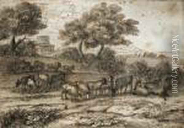 An Extensive Mediterranean Landscape With A Tower And A Herd Ofgoats Oil Painting - Claude Lorrain (Gellee)