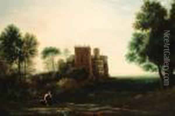 A Landscape With Psyche Before The Palace Of Love Oil Painting - Claude Lorrain (Gellee)
