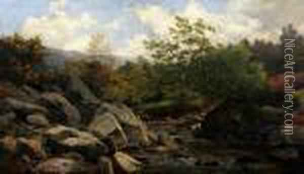 An Extensive Rocky River Landscape Oil Painting - Benjamin Williams Leader