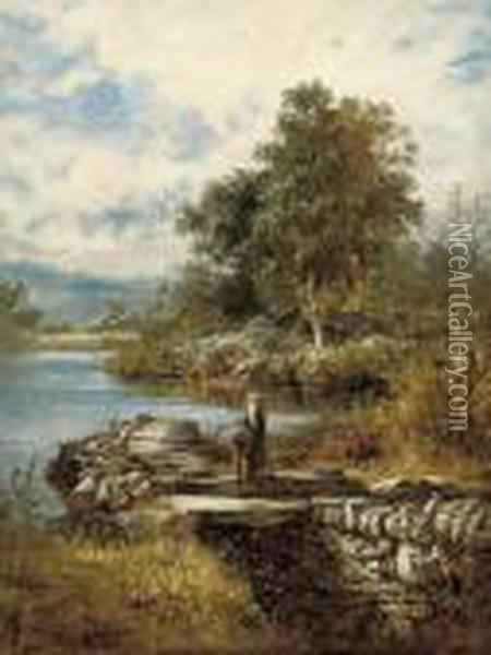 Near Capel Curig, North Wales Oil Painting - Benjamin Williams Leader