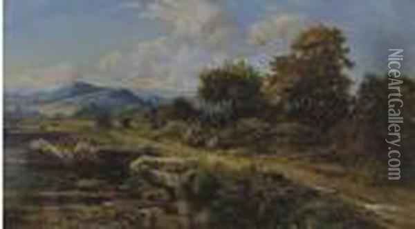 Travelers Resting On The Path Oil Painting - Benjamin Williams Leader