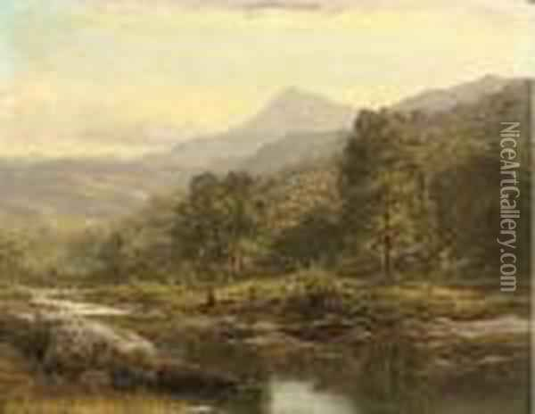 An Island On The Llugwy, Capel Curig, With An Angler Oil Painting - Benjamin Williams Leader
