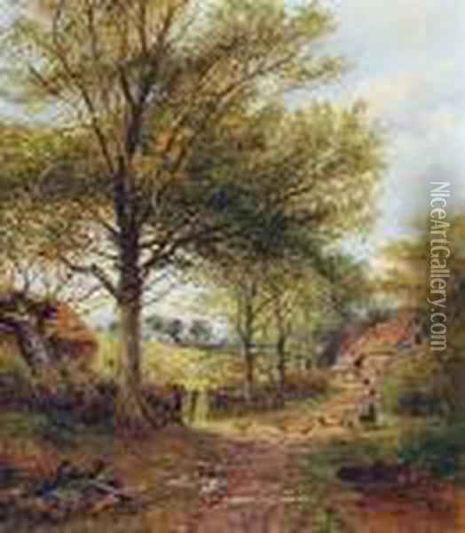 The Outskirts Of A Worcestershire Farm Oil Painting - Benjamin Williams Leader