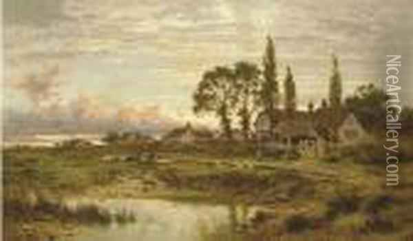 The Outskirts Of A Worcestershire Common, Clearing Up After Rain, Evening. Oil Painting - Benjamin Williams Leader