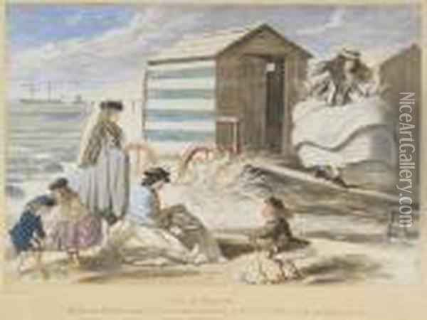 Scene At Sandbath Oil Painting - John Leech