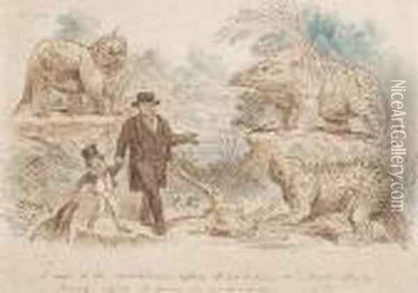A Visit To The Antediluvian Reptiles At Sydenham Oil Painting - John Leech