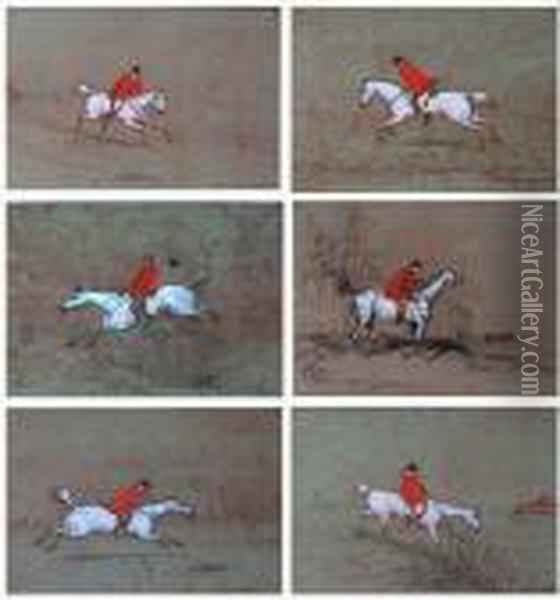 Agroup Of Six Hunting Sketches Oil Painting - John Leech