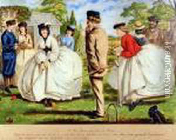 A Nice Game For Two Or More, The Croquet Match Oil Painting - John Leech