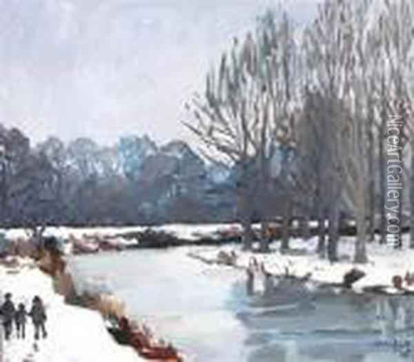 Medway Frozen River Oil Painting - John Leech