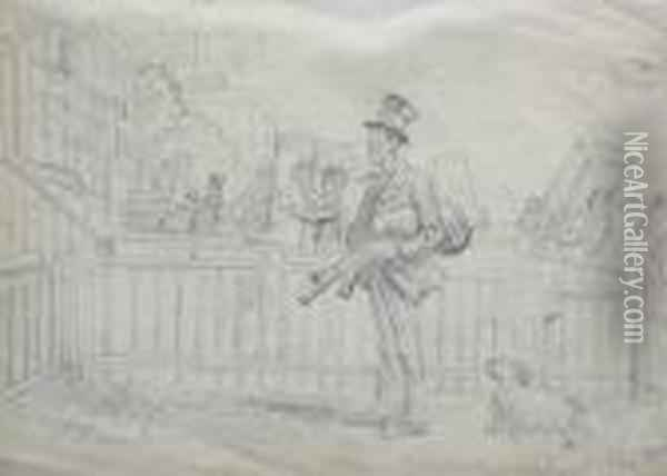 Man Playing The Pipes Outside A House Oil Painting - John Leech