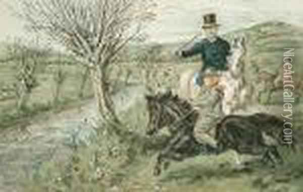 'gone Away'; 'no Consequence'; Mr Jorrocks; Ruggles And Master George At A Brook Oil Painting - John Leech