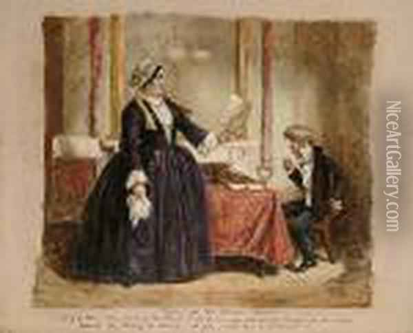 Filling Up The Census Papers Oil Painting - John Leech