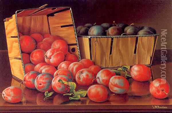 Baskets of Plums on a Tabletop Oil Painting - Levi Wells Prentice