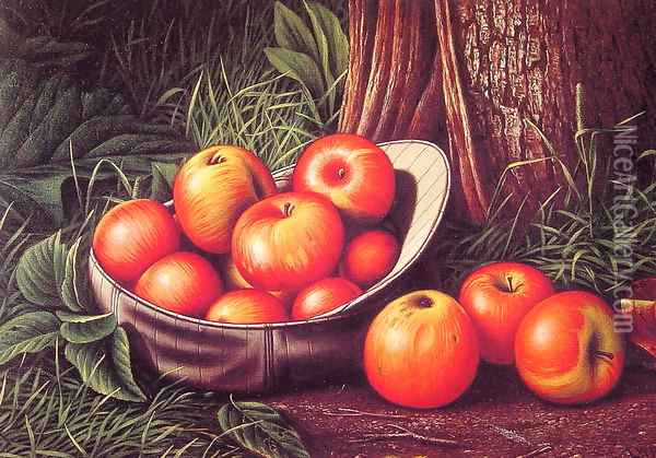 Still Life with Apples in a New York Giants Cap Oil Painting - Levi Wells Prentice