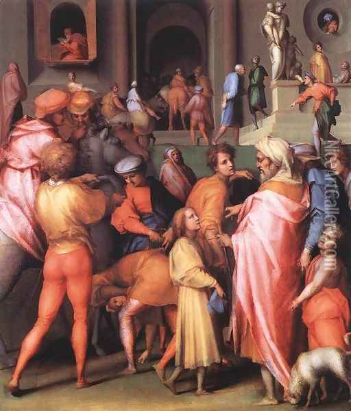 Joseph Being Sold to Potiphar 1515-18 Oil Painting - (Jacopo Carucci) Pontormo