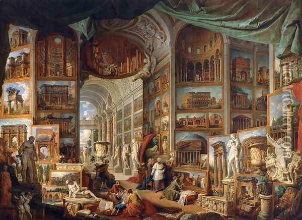 Gallery of Views of Ancient Rome Oil Painting - Giovanni Paolo Pannini