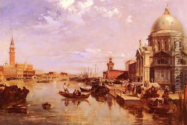 A View of the San Giorgio Church and the Grand Canal Oil Painting - Edward Pritchett