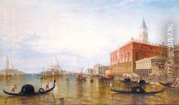 Gondolas On The Grand Canal In Front Of The Doge's Palace, Venice Oil Painting - Edward Pritchett