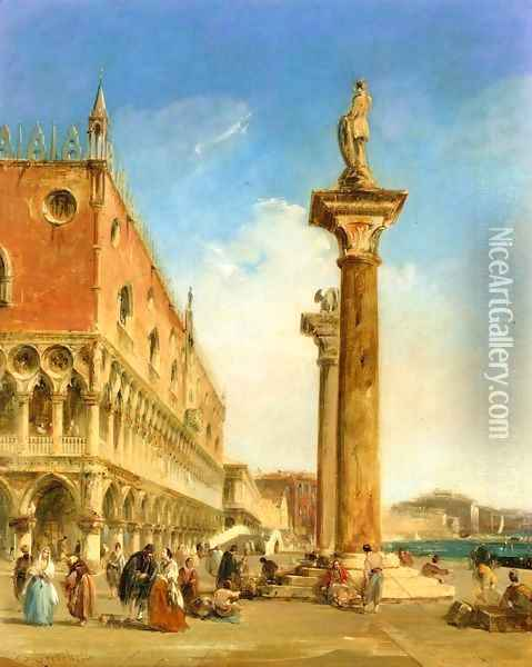 The Ducal Palace from the Piazzetta Oil Painting - Edward Pritchett