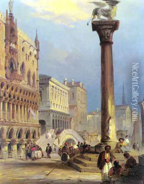 St. Marks and the Doges Palace, Venice Oil Painting - Edward Pritchett