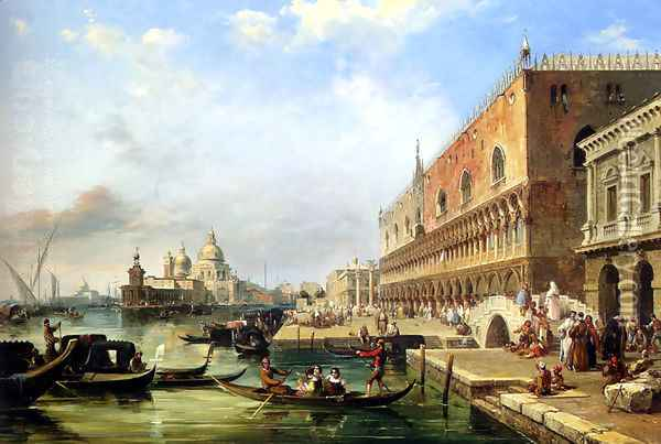 The Bacino, Venice, Looking Towards The Grand Canal, With The Dogana, The Salute, The Piazetta And The Doges Palace Oil Painting - Edward Pritchett