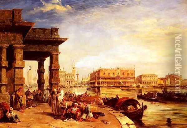 Looking To St Mark's Square From The Dogana Oil Painting - Edward Pritchett