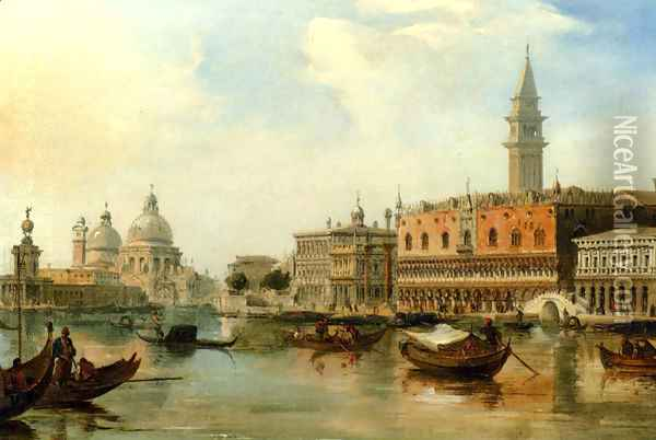 The Bacino, Venice, With The Dogana, The Salute And The Doge's Palace Oil Painting - Edward Pritchett