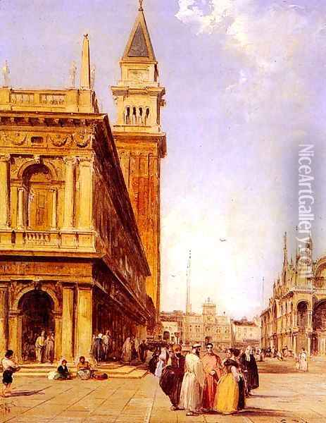 St Mark's Square, Venice Oil Painting - Edward Pritchett