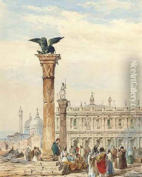 Figures congregating below the Lion Column, on the Piazzetta, Venice Oil Painting - Edward Pritchett
