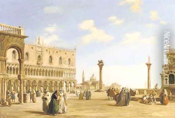 A crowd of spectators near the Doge's Palace looking east to the Church of San Giorgio Maggiore, Venice Oil Painting - Edward Pritchett