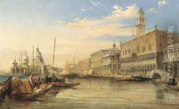 A View Of The Molo, Looking West With The Ducal Palace To The Right Oil Painting - Edward Pritchett