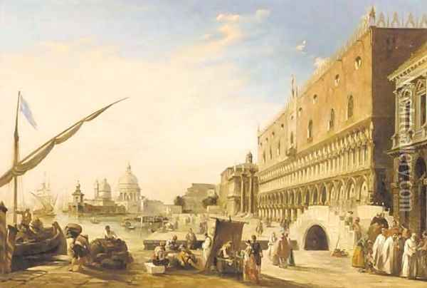 The Riva degli Schiavoni with the Doge's Palace looking towards the Church of Santa Maria della Salute, Venice Oil Painting - Edward Pritchett