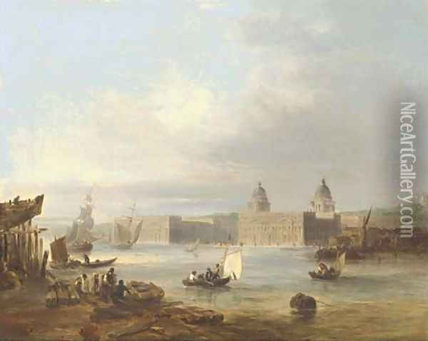 The Royal Naval College, Greenwich, from the Thames, the Royal Observatory beyond Oil Painting - Edward Pritchett