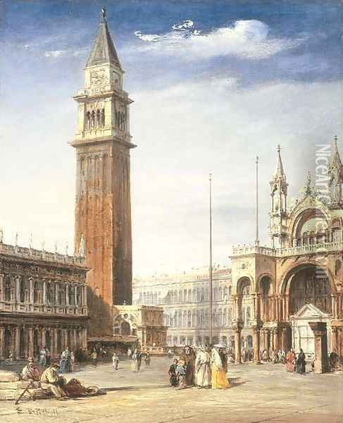 Venice View Of The Piazzetta, San Marco, Looking Towards The Piazza Oil Painting - Edward Pritchett