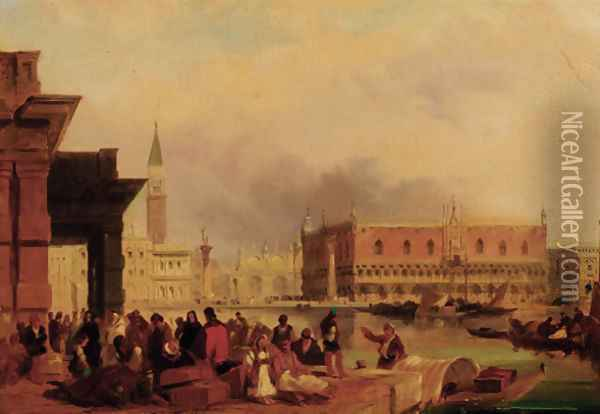 The Doge's Palace from the Dogana, Venice 2 Oil Painting - Edward Pritchett