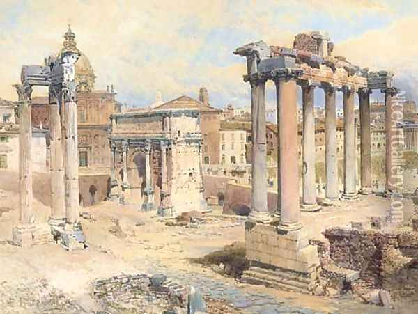 The Forum, Rome Oil Painting - Edward Pritchett