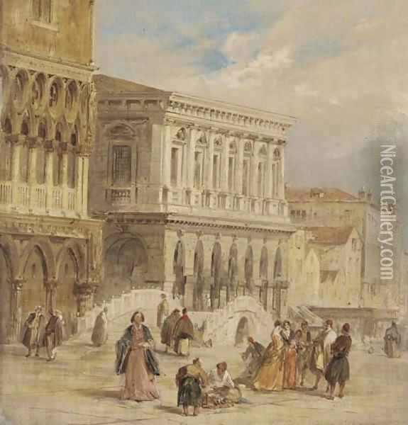 The Riva degli Schiavoni, Venice Oil Painting - Edward Pritchett