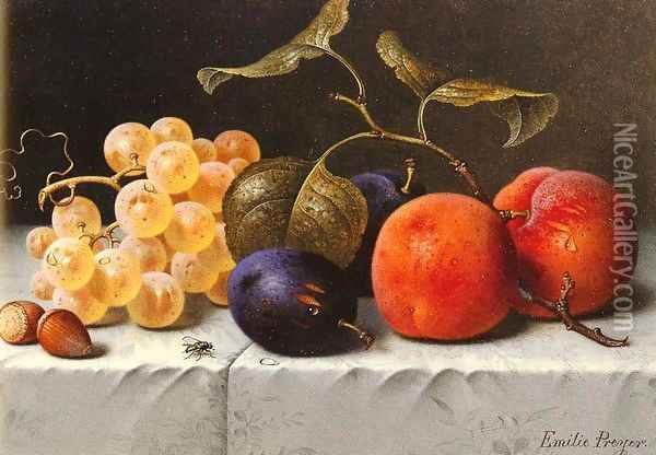 Still Life with Fruit and Nuts Oil Painting - Emilie Preyer