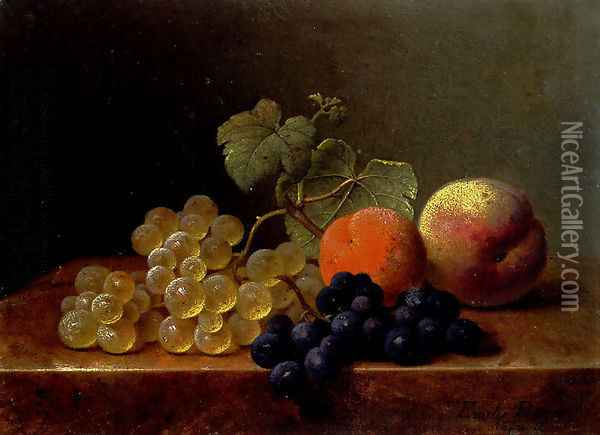 Grapes, An Orange And An Apple On A Marble Ledge Oil Painting - Emilie Preyer