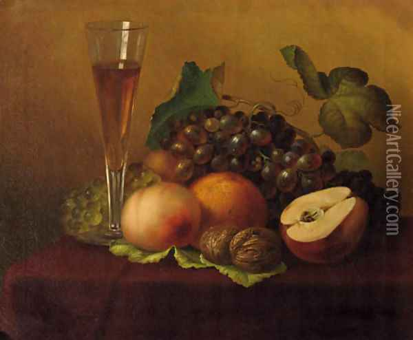 An autumn still life with grapes, walnuts, a glas of wine and a pear Oil Painting - Emilie Preyer