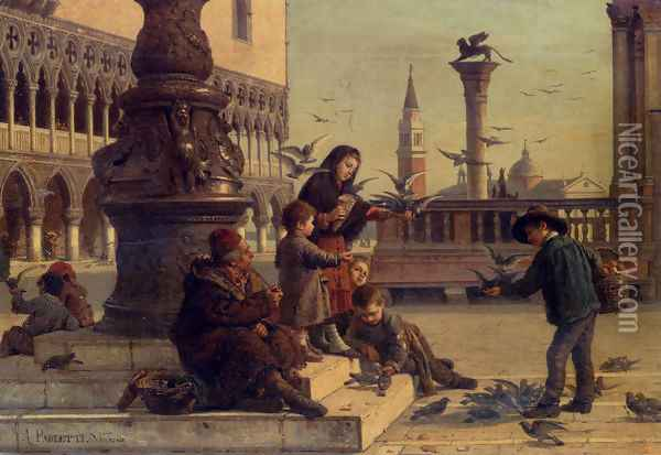 Feeding The Pigeons Oil Painting - Antonio Paoletti