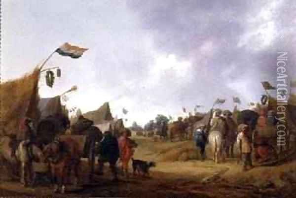 A Military Encampment Oil Painting - Anthonie Palamedesz