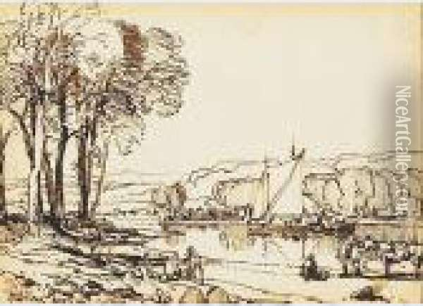 Views Of The Isle Of Wight: Carisbrook Castle; Atosbourne Oil Painting - William Leighton Leitch