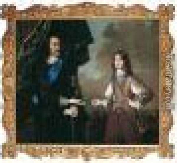 Portrait Of Charles I And The Duke Of York Oil Painting - Sir Peter Lely