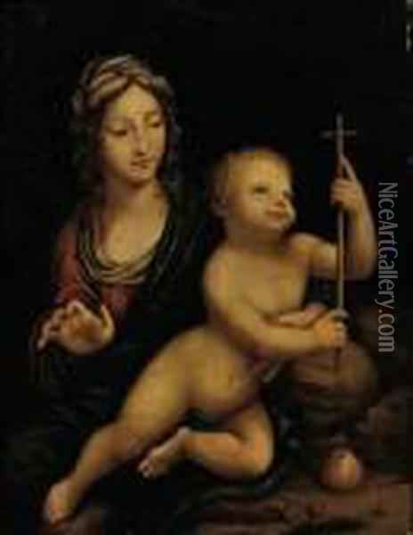 The Madonna Of The Yarnwinder Oil Painting - Leonardo Da Vinci