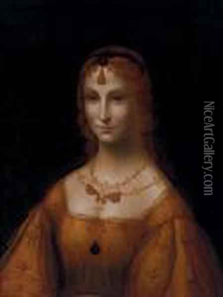 Portrait Of A Young Lady In A Gold Silk Dress Oil Painting - Leonardo Da Vinci