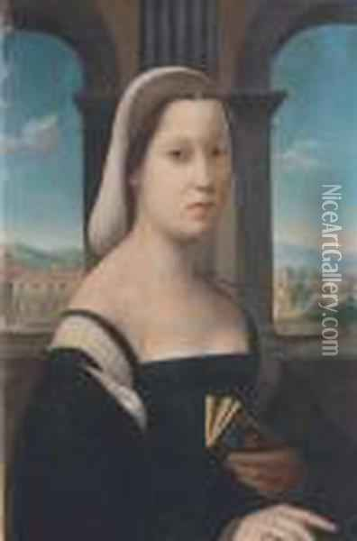 Portrait Of A Young Woman Holding A Book Oil Painting - Leonardo Da Vinci