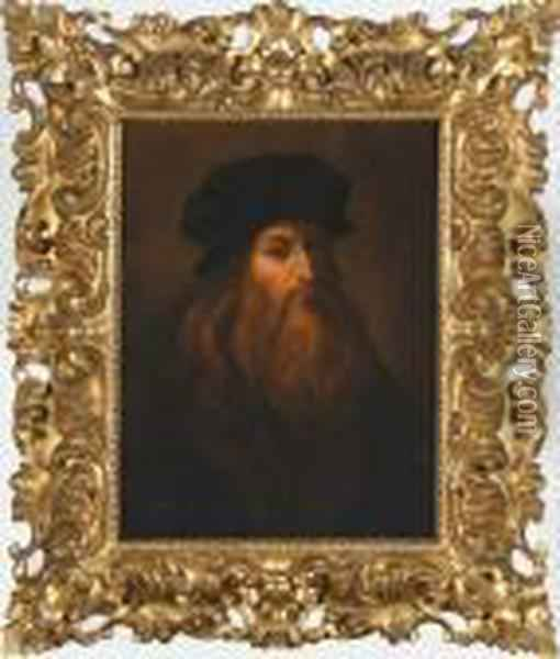 Copy Of Self-portrait Of Leonardo Da Vinci Oil Painting - Leonardo Da Vinci